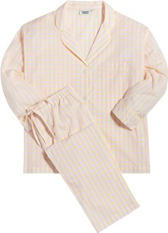 Marina Pajama Set in Pink & Yellow Large Gingham, X-Small