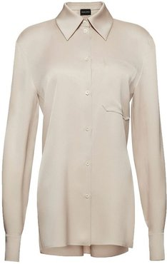 Ivory Silk Button-down Blouse