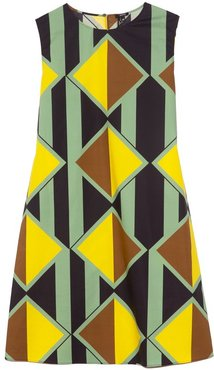 Printed Shift Dress in Green Navy