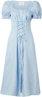 Marquise lace-up linen midi dress