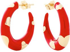 Petite Amour Heart Red Hoops