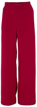 Red Silk Crepe Pull On Pant