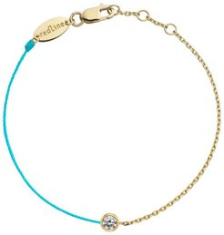 Pure Diamond Turquoise Cord and Yellow Gold Chain Bracelet