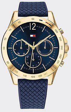 Gold-Plated Sport Watch Wi Navy Silicone Strap Navy -