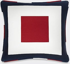 Square Frame Decorative Pillow Red / White / Blue -