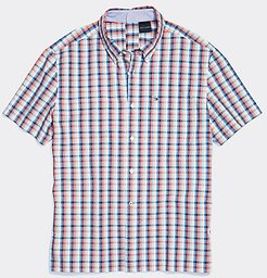 Adaptive Seated Fit Plaid Short Sleeve Shirt Exotic Coral/Multi - L