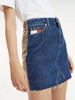 Denim And Cord Skirt Denim / Tan Corduroy - 31