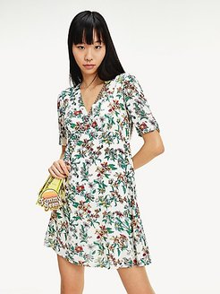 Floral Fit And Flare Dress Hawaii Print - XS