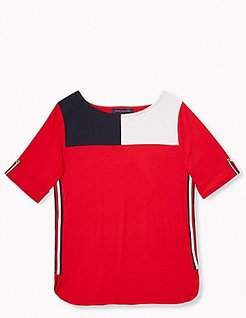 Relaxed Fit Essential Roll-Tab Sleeve Top Scarlet - M