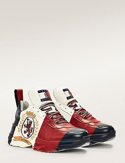 Color-Blocked High-Top Crest Leather Sneaker Red / White / Blue - 8.5