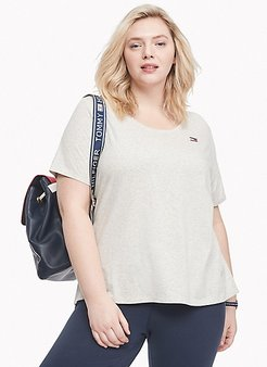 Essential Curve Scoop Neck T-Shirt White Stone Heather - 0X