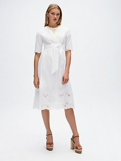 Relaxed Fit Lace Wrap Dress White - 6
