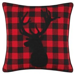 Cabin Plaid Stag Head Decorative Pillow
