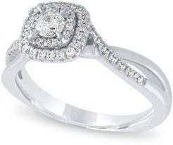 Diamond Cushion Halo Engagement Ring (3/8 ct. t.w.) in 14k White Gold