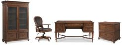 Clinton Hill Cherry Home Office, 4-Pc. Set (Writing Desk, Lateral File Cabinet, Door Bookcase & Leather Desk Chair)