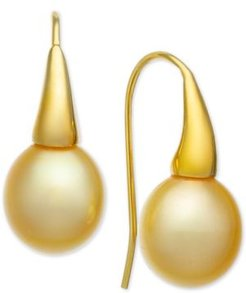 Cultured Golden South Sea Pearl (9mm) Dorp Earrings in 14k Gold-Plated Sterling Silver