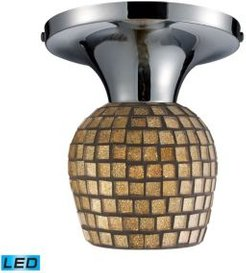 Celina 1-Light Semi-Flush in Polished Chrome and Gold Leaf Glass - Led Offering Up To 800 Lumens (60 Watt Equivalent)