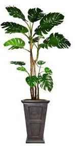 """90.8"""" Tall Monstera Artificial Faux Home Decor with Burlap Kit and Fiberstone Planter"""
