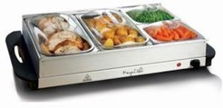 Buffet Server, Food Warmer with 4 Removable Sectional Trays, Heated Warming Tray and Removable Tray Frame