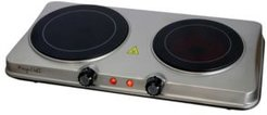 Electric Easily Portable Heavy Duty Lightweight Dual Size Infrared Burner Cooktop Buffet Range in Sleek Steel