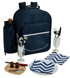 Deluxe 2 Person Picnic Backpack Cooler with Insulated Wine Pouch