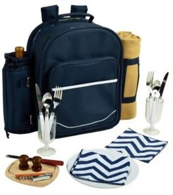 Deluxe 2 Person Picnic Backpack Cooler, Wine Pouch, and Blanket