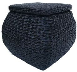 Square Bulge Havana Weave Rush Lined Storage Ottoman with Lift-Off Lid