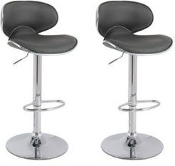 Curved Form Fitting Adjustable Barstool in Bonded Leather, Set of 2