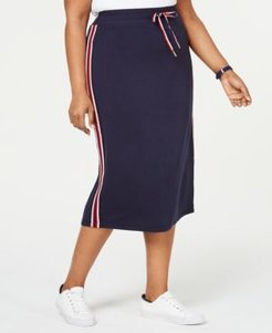 Plus Size Striped Drawstring Skirt, Created for Macy's