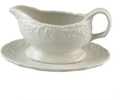 Royal Abbey 18 Ounce Embossed Durastone Gravy Boat with Saucer