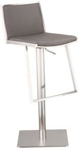 Ibiza Adjustable Brushed Stainless Steel Barstool in Gray Faux Leather