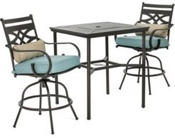 """Montclair 3-Piece High-Dining Set with 2 Swivel Chairs and a 33"""" Square Table - 36.2"""" x 33"""" x 87.9"""""""