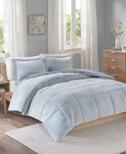 Intelligent Design Carson Full/Queen Reversible Frosted Print Plush to Heathered Microfiber 3 Piece Comforter Set Bedding