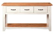 Rustic Collection Sofa - Console Table, Antique White And Honey Tobacco