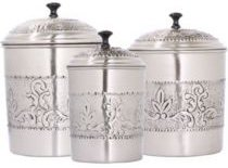 International 3 Piece Antique Embossed Victoria Canister Set