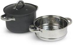 Hard Anodized Aluminum 4-Qt. Multi Cooker with Glass Lid & Steam Tray