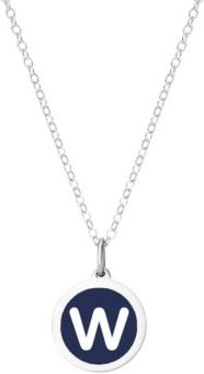 """Mini Initial Pendant Necklace in Sterling Silver and Navy Enamel, 16"""" + 2"""" Extender"""
