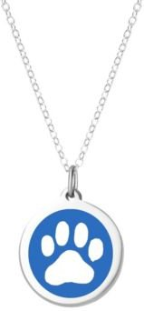 """Paw Print Pendant Necklace in Sterling Silver and Enamel, 16"""" + 2"""" Extender"""