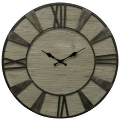 Weathered Wood Round Roman Numeral Wall Clock