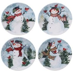 Closeout! Certified International Watercolor Snowman 4-Pc. Dinner Plate