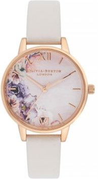 Watercolour Floral Blush Leather Strap Watch 30mm