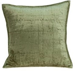 Pilas Transitional Olive Solid Quilted Pillow Cover