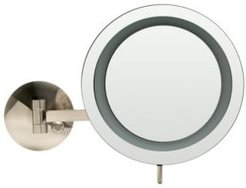 Brushed Nickel Wall Mount Round 5x Magnifying Cosmetic Mirror with Light Bedding