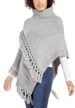 Turtleneck Cable-Knit Poncho With Fringe