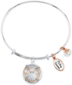 Mickey Mouse Shaker Charm Bangle Bracelet in Two-Tone Stainless Steel