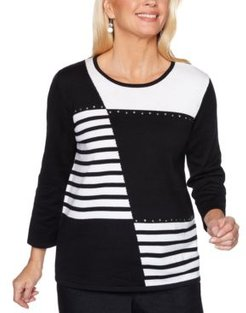 Petite Well Red Patch Stripe Sweater