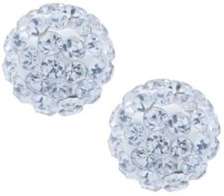 Crystal 8mm Pave Earrings in Sterling Silver. Available in Clear, Blue, Light Blue or Multi