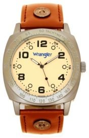 Watch, 44MM Ip Grey Cushion Shaped Case, Beige Dial with Black Arabic Numerals, Brown Strap Rivets, Second Hand