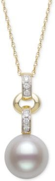 """Cultured Freshwater Pearl (8mm) & Diamond (1/20 ct. t.w.) 18"""" Pendant Necklace in 14k Gold"""