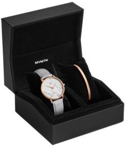 Boulevard Beverly Marble Light Gray Leather Strap Watch 38mm Gift Set
